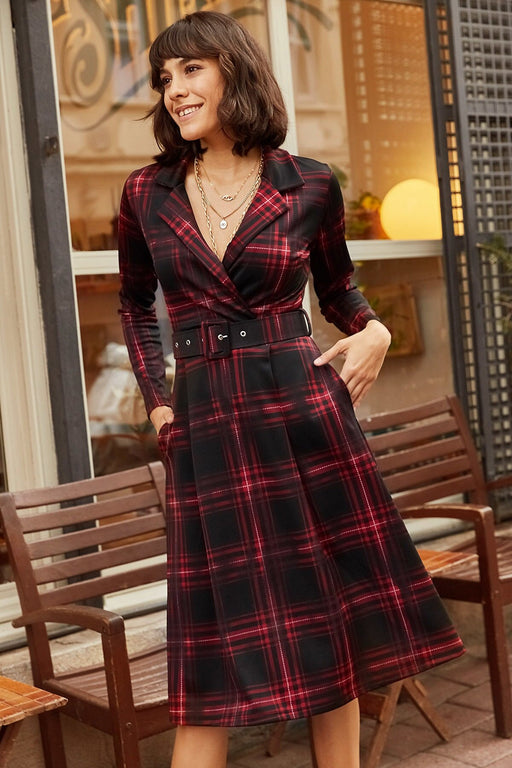 With Pocket Arched Plaid Dress