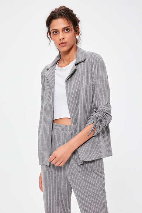 Gray Striped Knitted Jacket