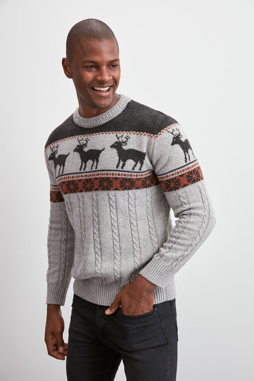 Male Bicycle Neck Textured Sweater