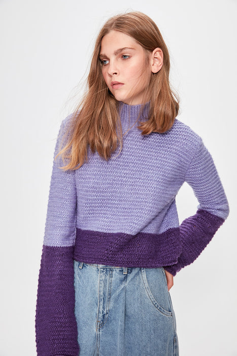 Lilac Crop With Color Block Sweater Pullover