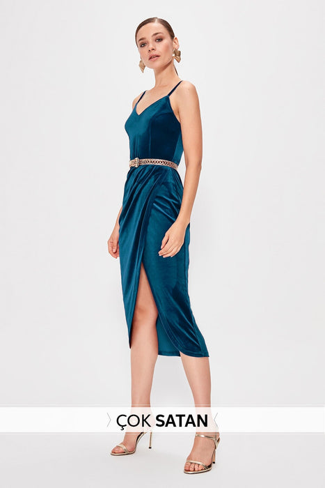 Petrol Wraped Velvet Dress