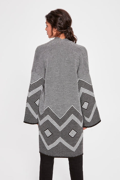 Gray Pattern Oversize Sweater Cardigan