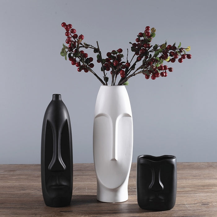 1pc Minimalism Abstract Head Shape Ceramic Vase