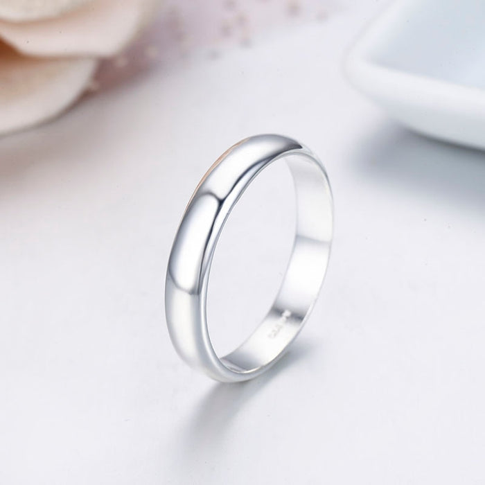 990 Pure Sterling Silver D Shape Thick Band Rings For Women