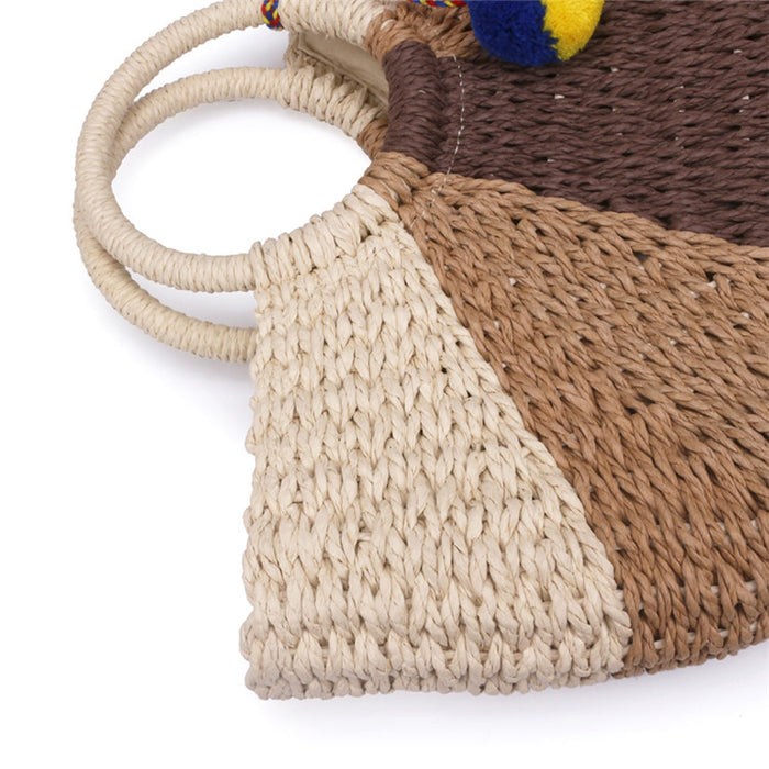 Large retro straw bag