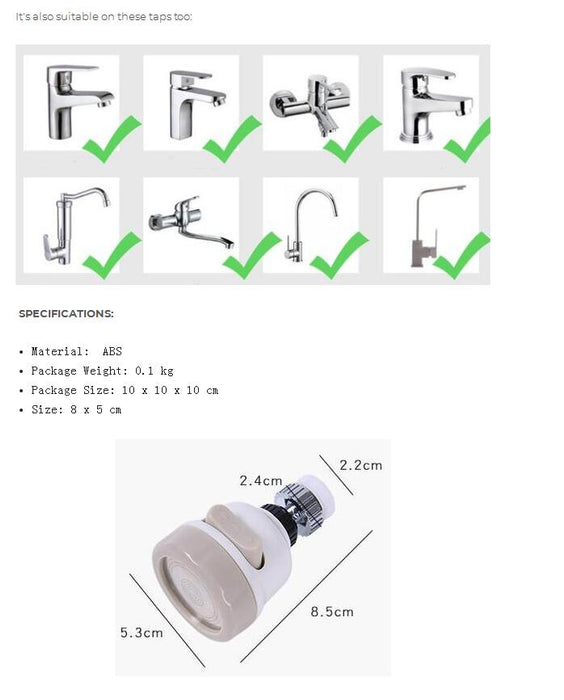 Movable Universal  Kitchen Tap Head - Water Saving