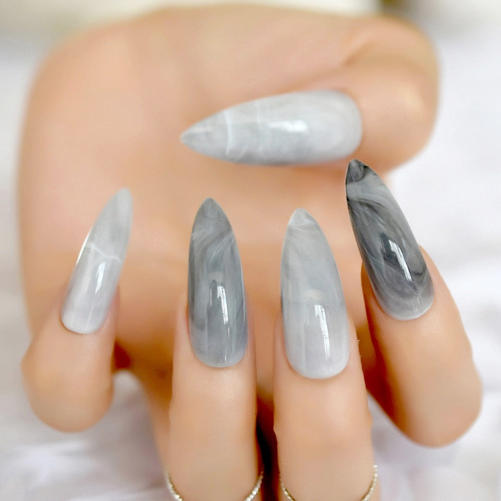 Extra Long Stiletto Grey Marble Fake Nails