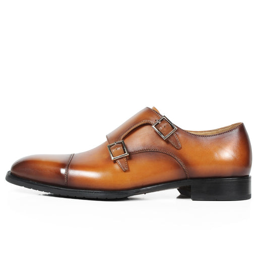Handmade Mans Patina Double Monk Strap Dress Shoes