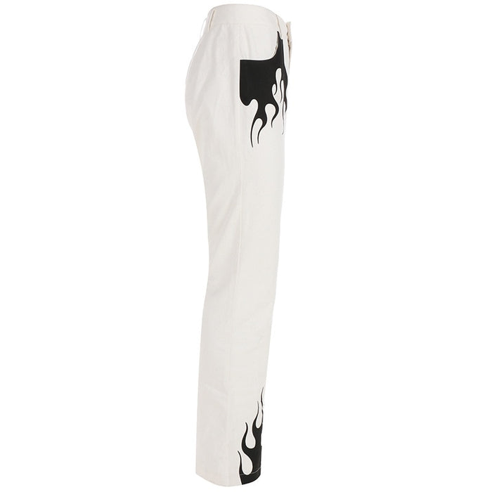 Symmetrical Flame Print High Waist Flare Pants
