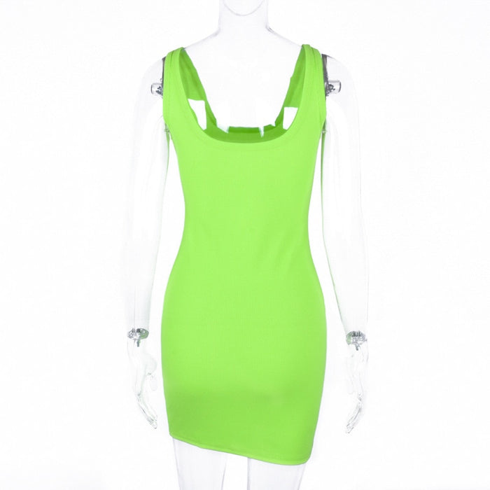 Ribbed Knitted Sleeveless Casual Women's Dress