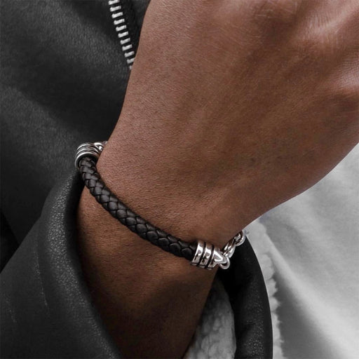 Leather/stainless steel chain bracelet