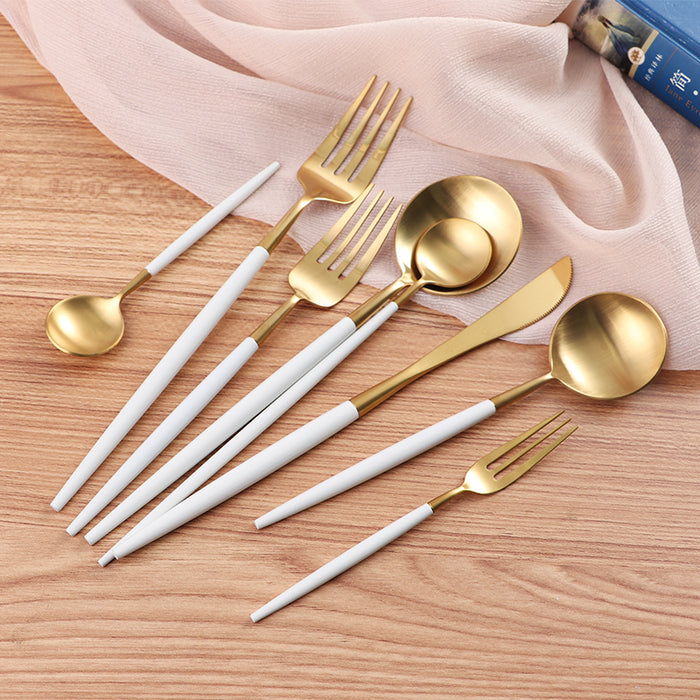 White Gold Plated Dinner Dessert Fork Spoon Knife Set/ Dinnerware Set