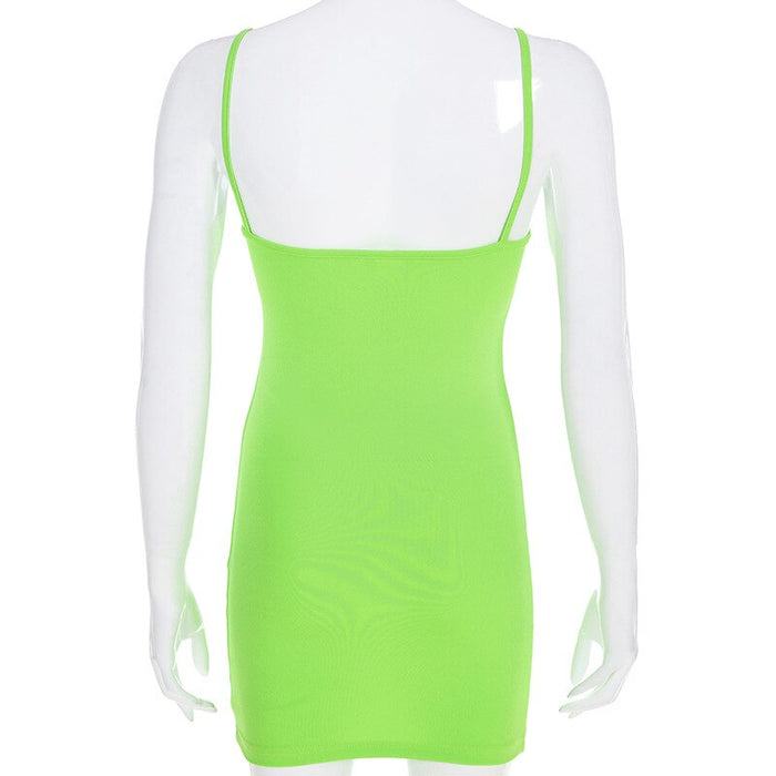 Neon Green Chic Spaghetti Strap Women's Dress