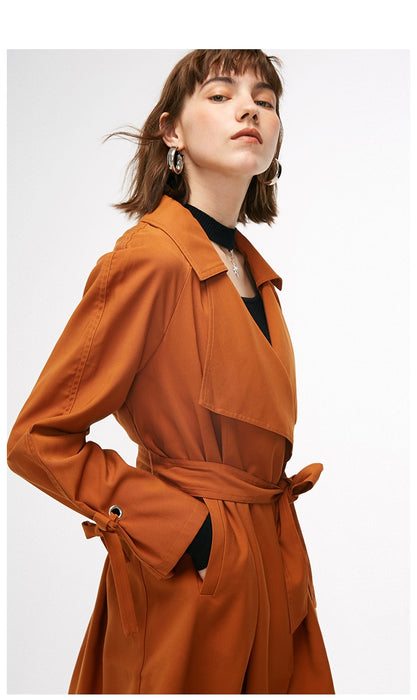 Women's autumn new simple loose tie trench coat
