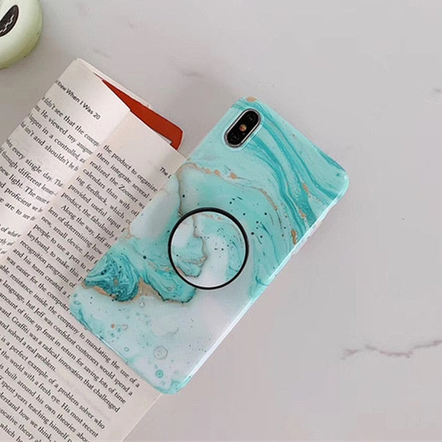 Luxury Crack Marble Phone Case For iPhone X XS Max XR 8 7 with Grip Holder