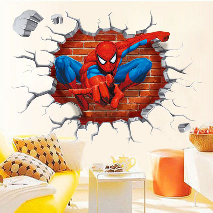 3D Spiderman through the wall stickers