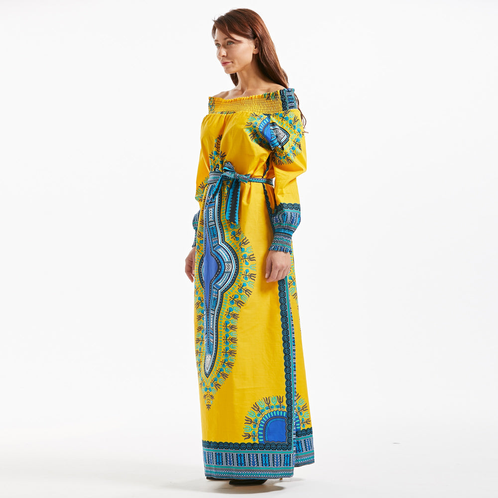 African Design Dashiki Bazin Long Sleeve Dress