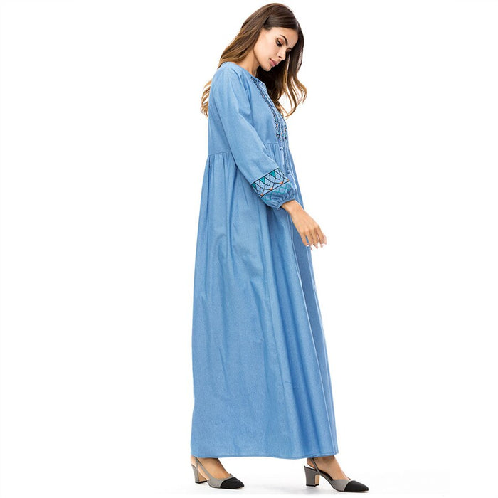 Casual Embroidery Loose Size Abaya Dress