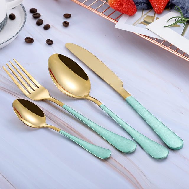 Pink Gold Forks Spoons Knives Cutlery Set (24 Pcs)