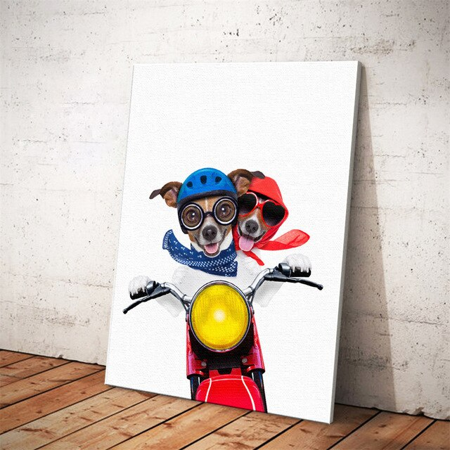 Nordic Style Boxing Dog Canvas Art