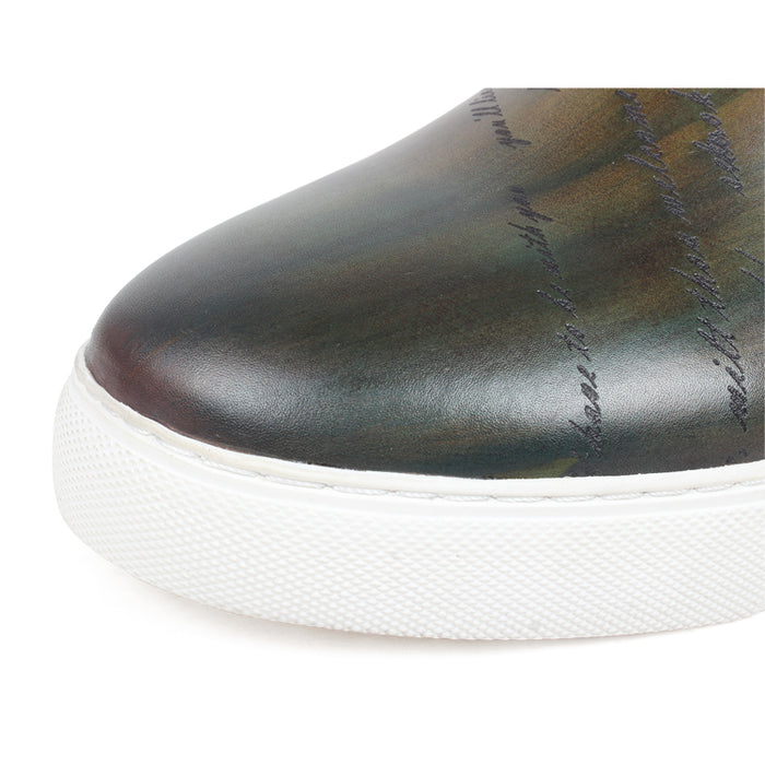 Men Casual Patina Leather Sneakers