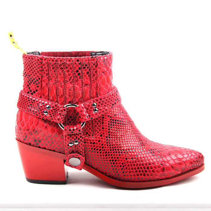 Snake Skin Pointy Toe Women Ankle Boots