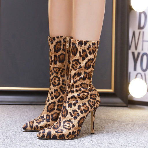 Leopard Printed Stretch Fabric Sock Boots