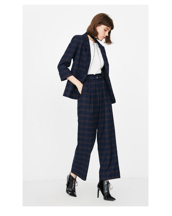 Women's autumn new high waist plaid casual pants