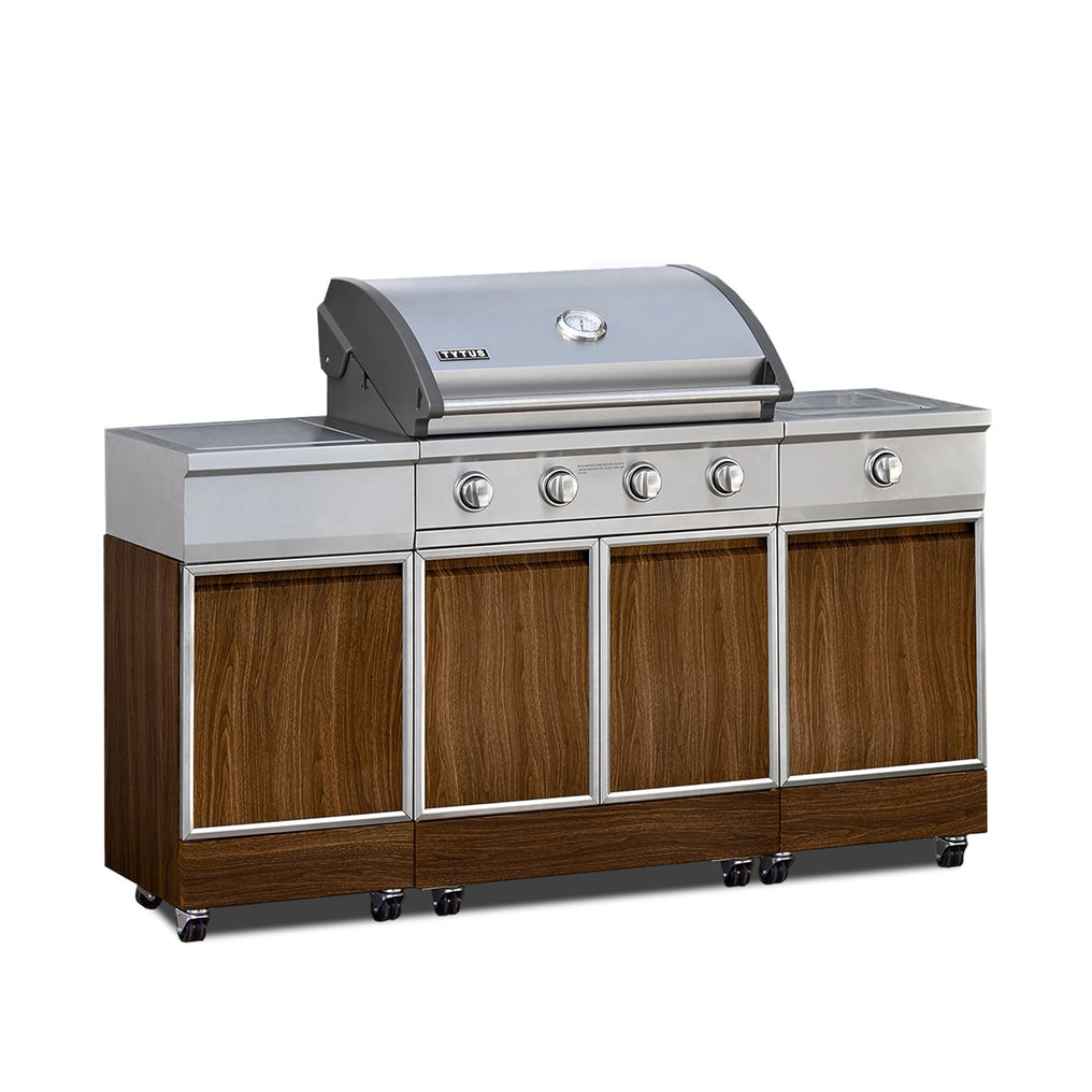 TYTUS Walnut Wood Metal 4-Burner Grill Island