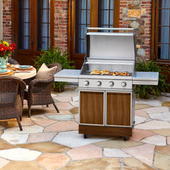 TYTUS Walnut Wood Metal 4-Burner LP Gas Grill Grills Tytus Grills