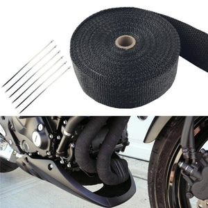 "2""x5m Exhaust Pipe Header Heat Wrap Resistant Downpipe 10 Stainless Steel Ties For Motorcycles, Muscle Cars, Vintage Cars Atvs"