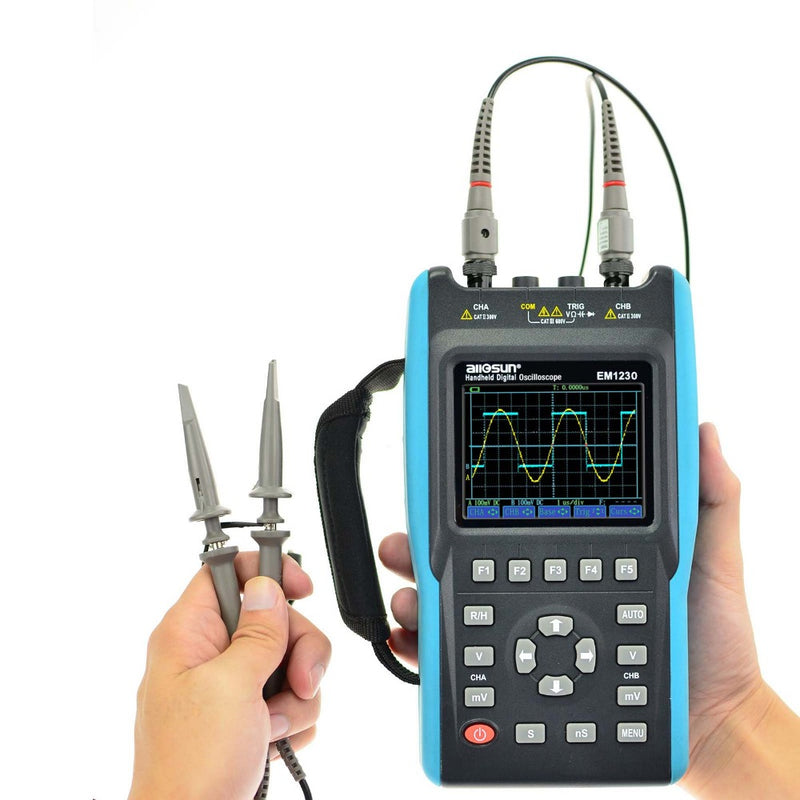 All-Sun EM1230 2in1 Handheld Oscilloscope 2 Channels with Screen Scope Digital Multimeter DMM Meter