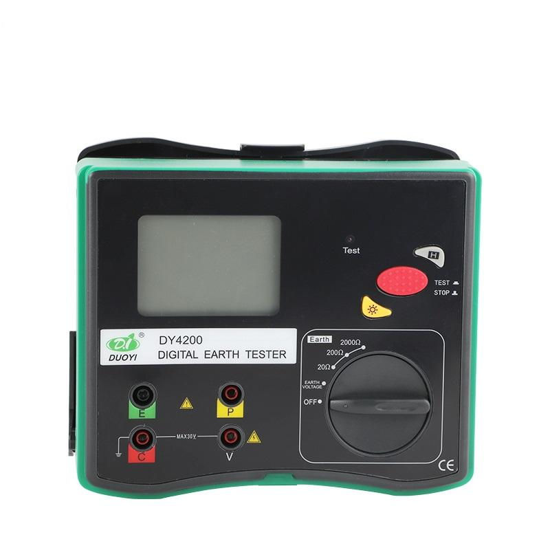DUOYI DY4200 Digital Earth Ground Resistance Tester Measurement Megohmmeter 0-2000 Ohm with LCD Backlight Higher Accuracy Meter