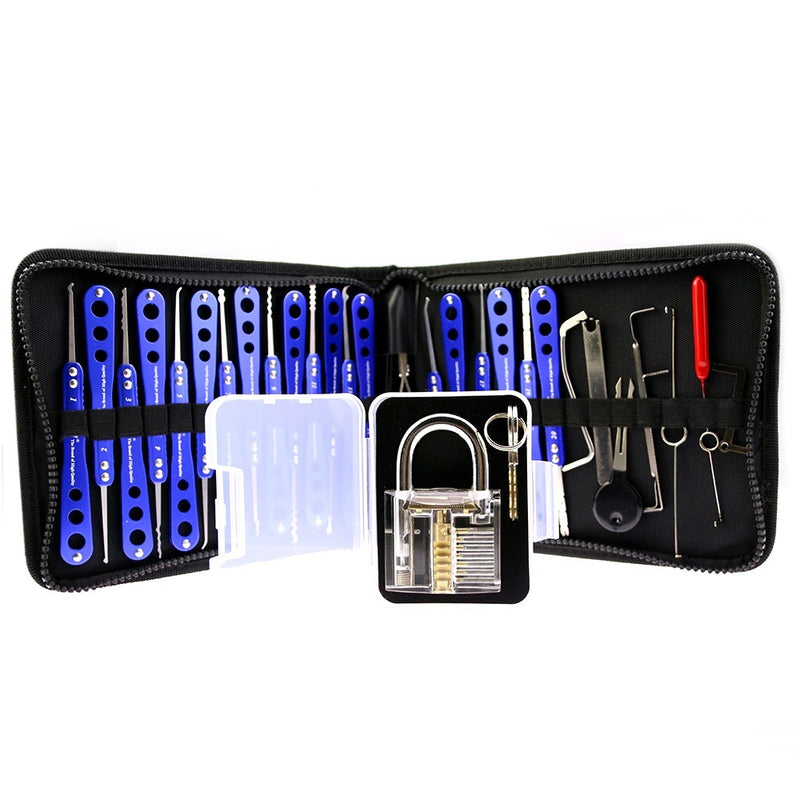 7Pins transparent Practice Padlock Lock 30pcs Lock Picks Tools Set Locksmith Tools