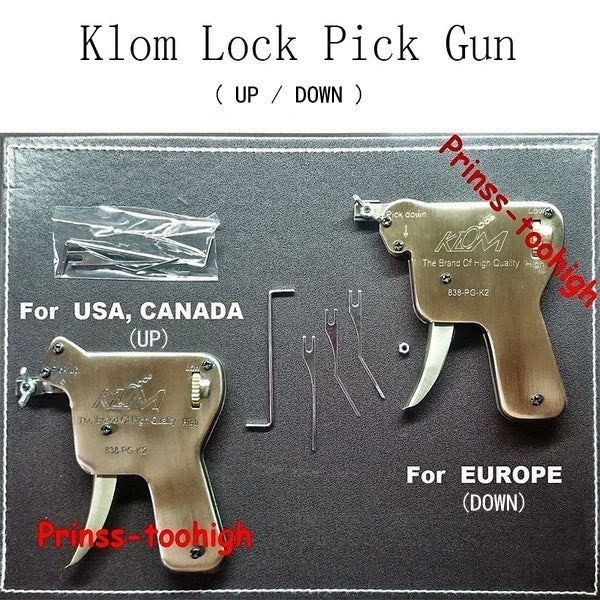 1 Set KLOM Lock Pick Gun Locksmith Strong Door Opener Lockpicking Practice Unlocking Tools(DOWN)