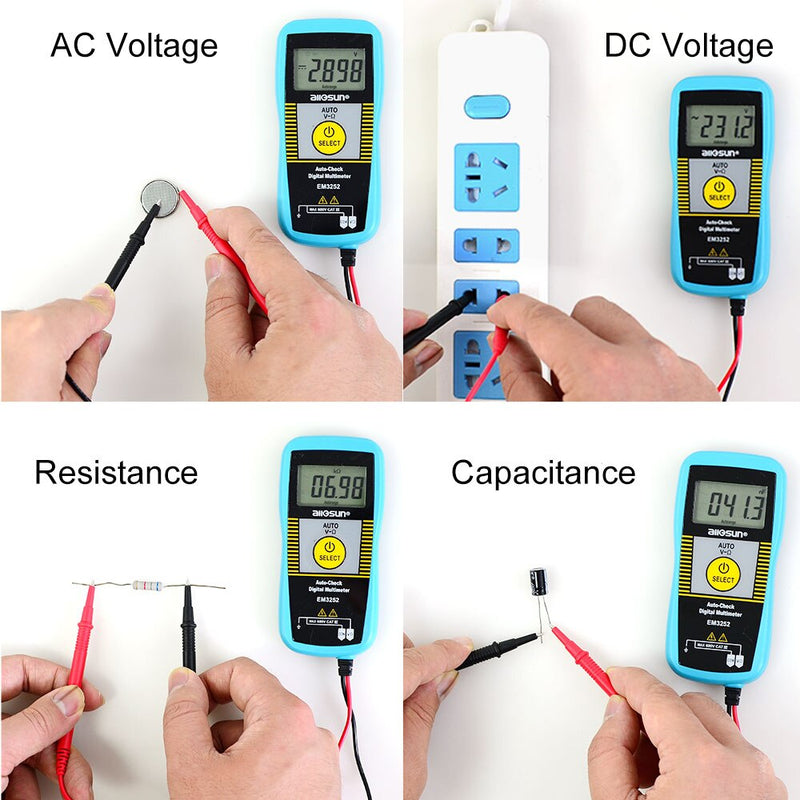 ALL SUN EM3252 Auto Ranging Pocket Multimeter Digital Voltmeter Resistance Frequency Capacitance Continuity 7-Modes Tester