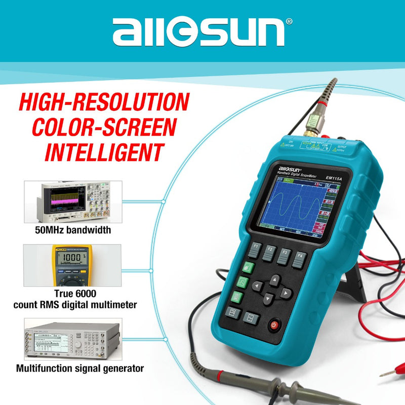 ALL SUN EM115A Handheld Oscillograph 3 In 1 Multifunction Oscilloscope 50MHZ Color Screen Scopemeter Single Channel