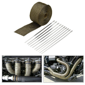 Car Exhaust Pipe Header Heat Wrap Resistant Downpipe 10 Stainless Steel Ties 5mx5cm for Car Motorcycle Accessories & Parts