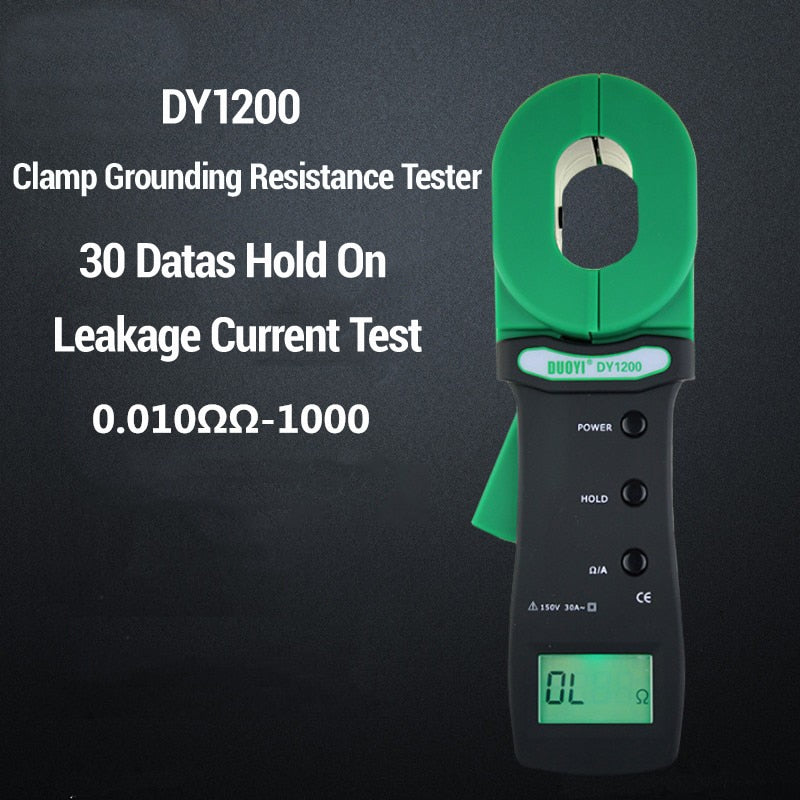 DUOYI DY1200 Resistance Test Meter Industrial Leakage Current Testing Digital Clamp Grounding Resistance Tester