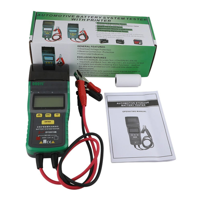 DUOYI DY2015B Automotive Battery Tester Car Power Electronic Load Battery Analyzner with Printer 12V Car Measure Test Repair