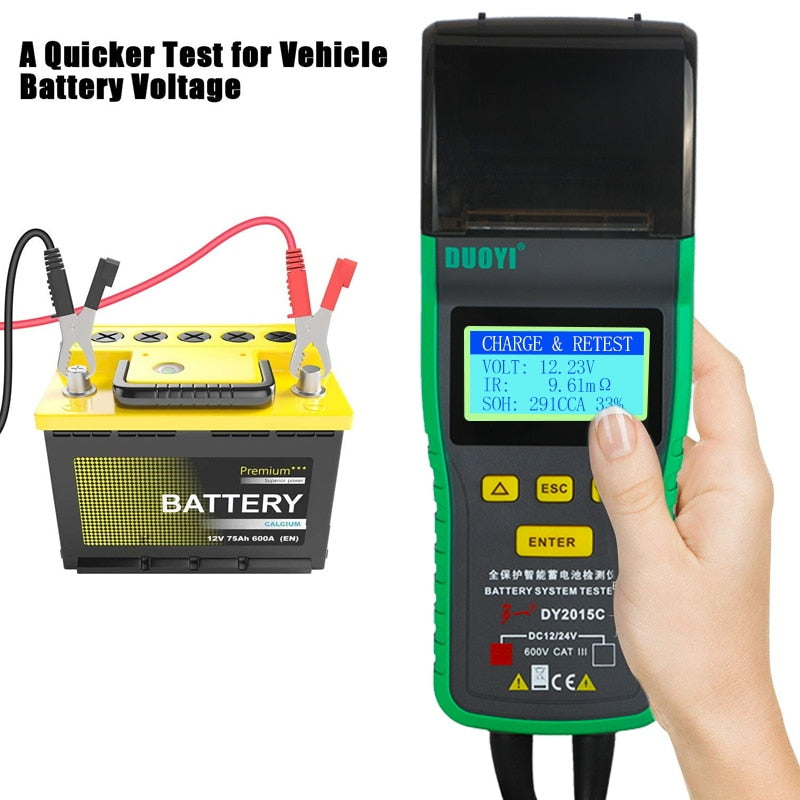 DUOYI DY2015C Car Battery Tester Lead-acid Analyzer Auto Integrated Printer Portable Measurement