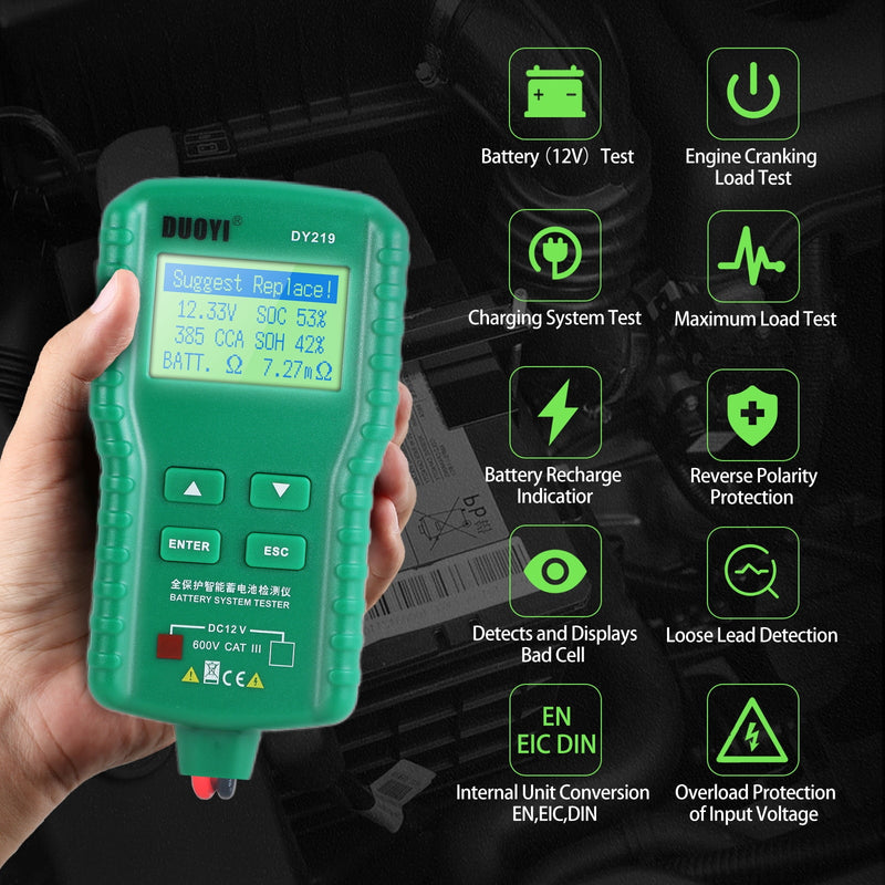 DUOYI DY219 12V Car Battery Tester 100~ 1700CCA  Digital Automotive Analyzer Lead Acid Battery Multifunction Diagnostic Tool