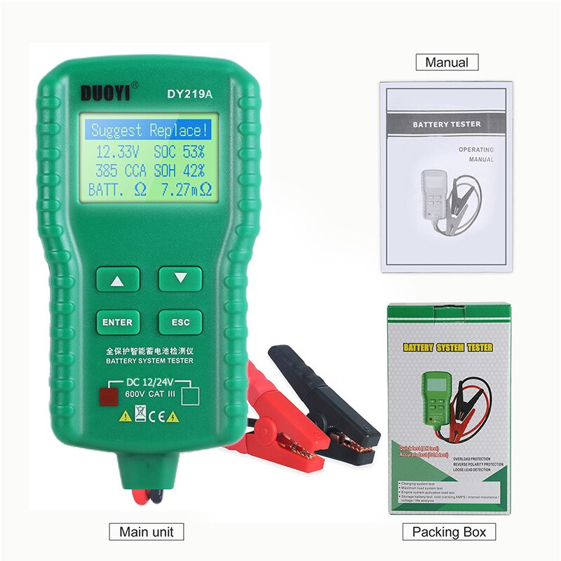 DUOYI DY219A Car Battery Tester 12V/24V 100-1700CCA Battery Tools For Voltage Load Analyzer Multifunction Diagnostic Tester
