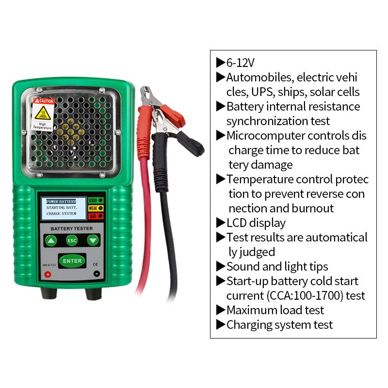 DUOYI DY226A Car Battery Tester 6V/12V Load Starting Charge Tester Vehicle UPS Marine Multifunction Battery Diagnostic Tool