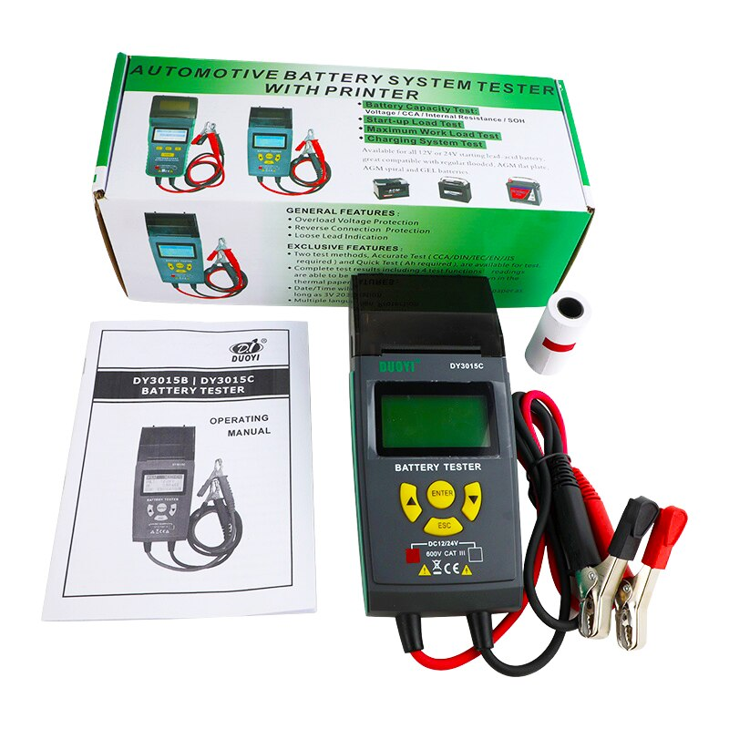 DUOYI DY3015C 12V24V Digital Car Battery Tester Automotive Battery Analyzer Diagnosticor Multi-language With Print