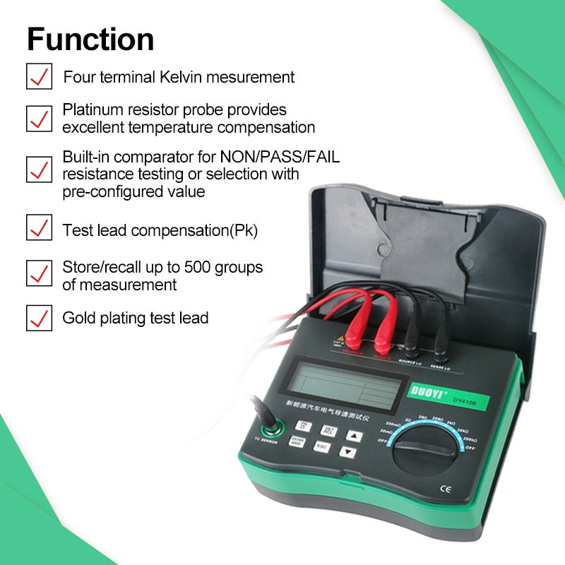 DUOYI DY4106 Digital Automotive Circuit Resistance Tester Electrical Car Test Micro ohm Meter 10u-200kΩ With Temperature Sensor