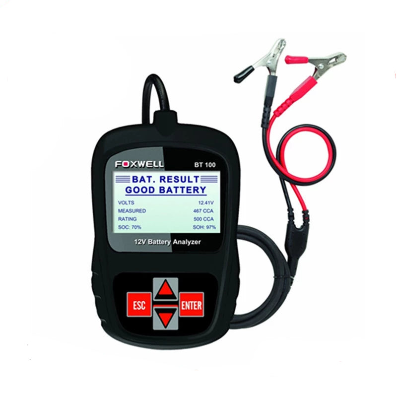 FOXWELL BT100 12V Car Battery Tester for Flooded,AGM,GEL Original BT100 12 Volt Digital All Cars Data Battery Analyzer