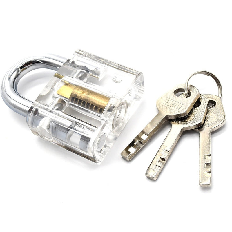 4pcs/set Cutaway Lock Transparent Training Skill Professional Visable Practice Padlock Lock Pick For Locksmith Tools