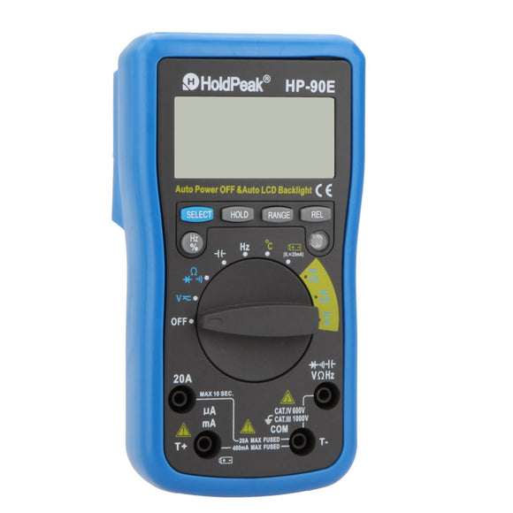 HoldPeak HP-90E Auto Range Digital LCD Multimeter DMM Temperature Meter Battery Multitester Multimetr Medidor Dijital Multimetre