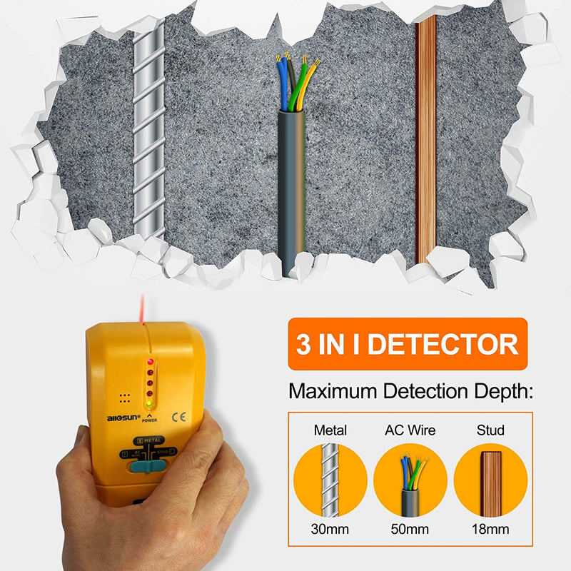 ALL-SUN TS73 Electronic Stud Finder Handheld 3 In1 Stud Metal AC Voltage Finder Multiscanner Live Wire Wall Scanner with Groove TS73